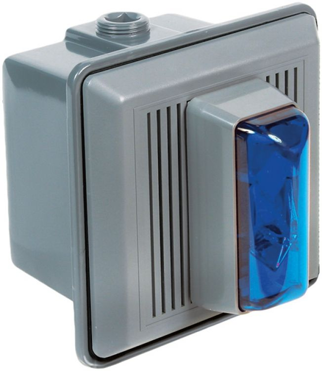 24vdc Strobe Unit-w/horn--blue. Can Be Used Indoors Will Operate On 24vac Or 24vdc.