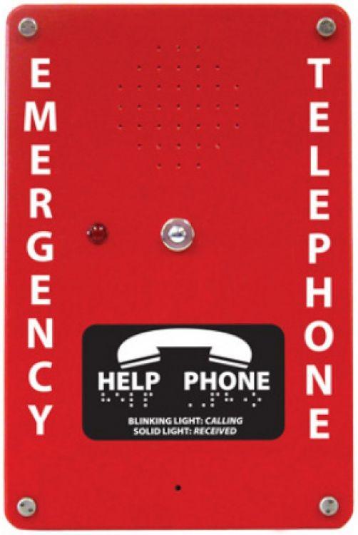 Emergency Telephone--nema4-red. Interior/exterior In Surface Mounted Nema-4 Red Fiberglass Enclosure - Auto-dialer.