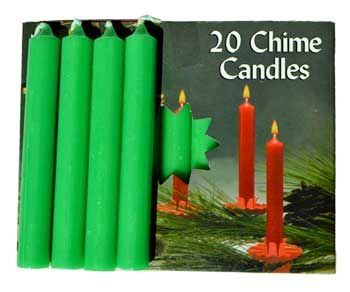"""1/2"""" Emerald Green Chime Candle 20 Pack"""