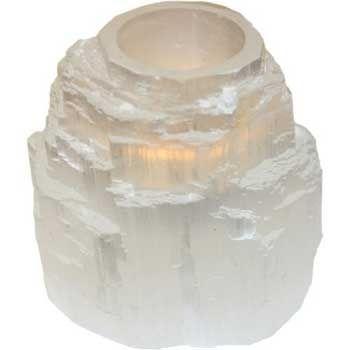 White Tower Selenite Tealight Candle Holder