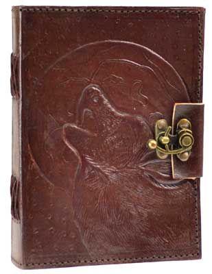 Wolf Moon Leather Blank Book W/ Latch