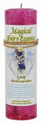 """Love Pillar Candle With Fairy Dust Necklace 6 1/2"""" Tall"""
