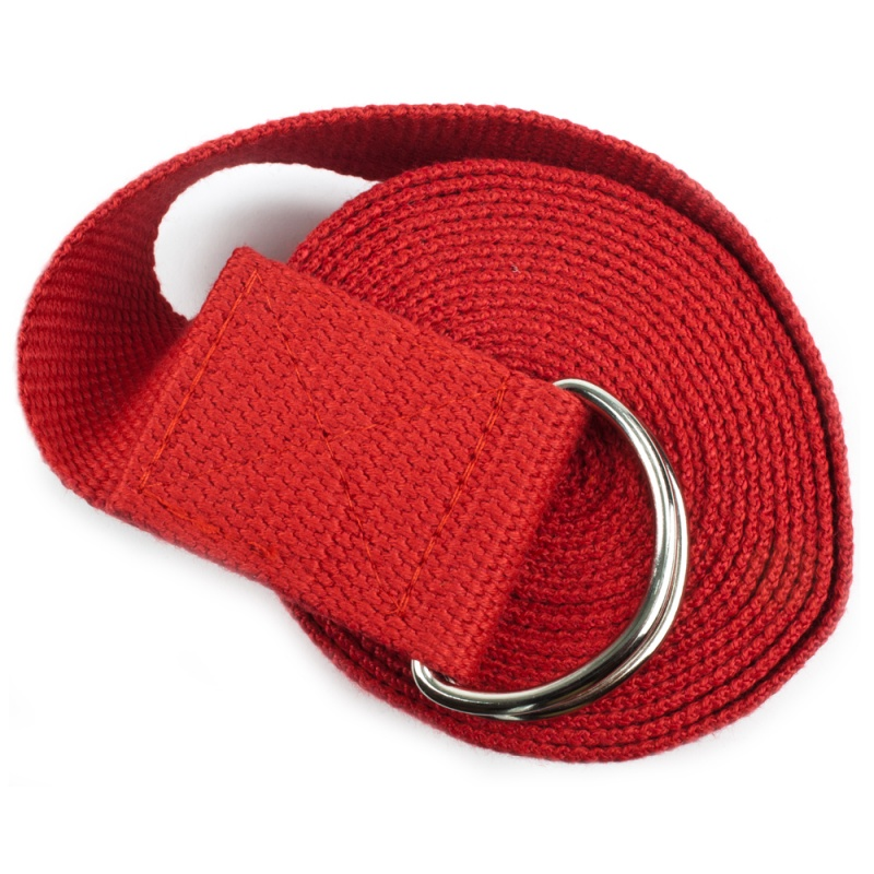 Red 10' Extra-Long Cotton Yoga Strap With Metal D-Ring
