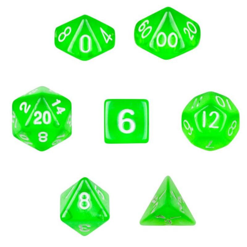 7 Die Polyhedral Dice Set In Velvet Pouch- Translucent Green