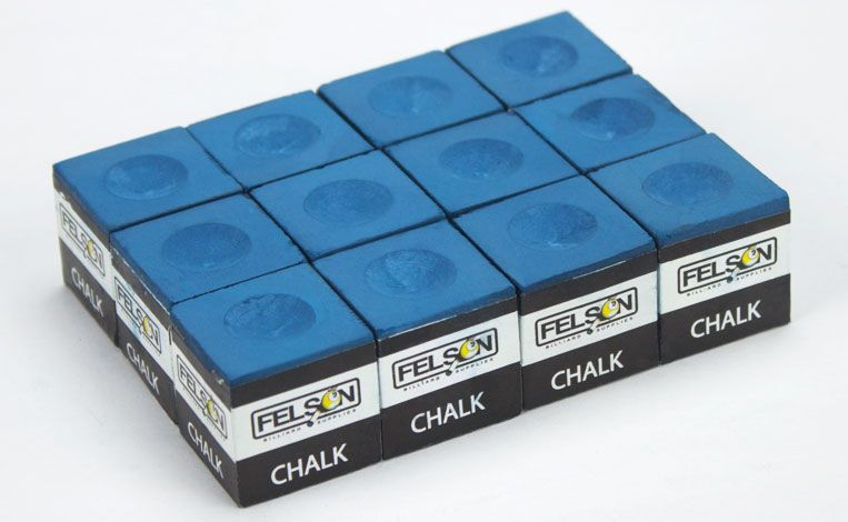 Box Of 12 Blue Cubes Of Pool Cue Chalk