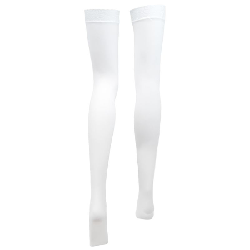 White With Black Hearts Thigh High Costume Tights