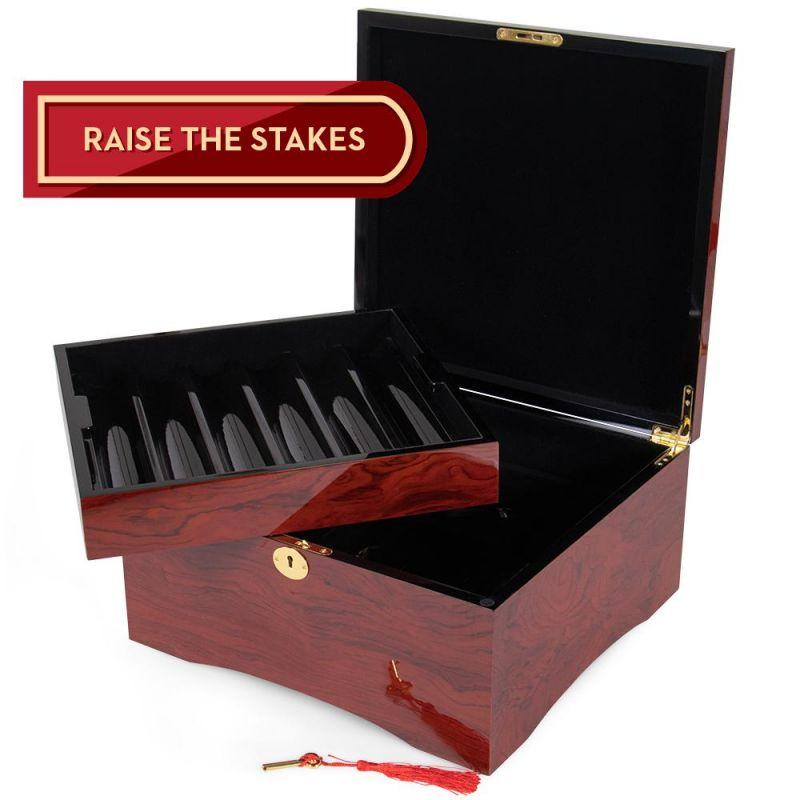 750 Ct Glossy Wooden Mahogany Case