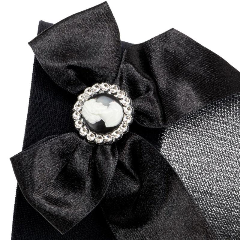 Black Brooch Thigh High Costume Tights