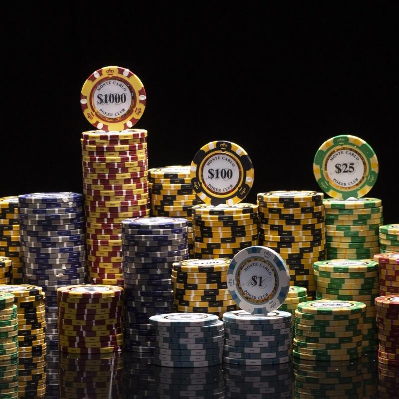 500 Ct Monte Carlo 3-Tone Poker Chip Set W/ Aluminum Case