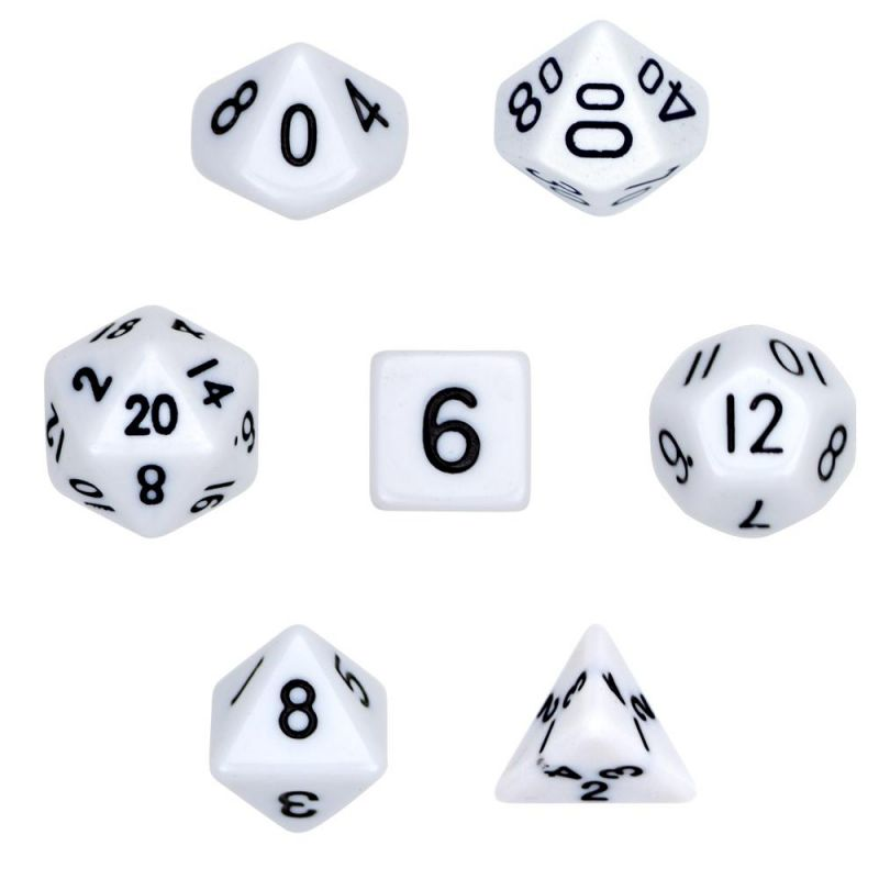 7 Die Polyhedral Dice Set In Velvet Pouch- Opaque White