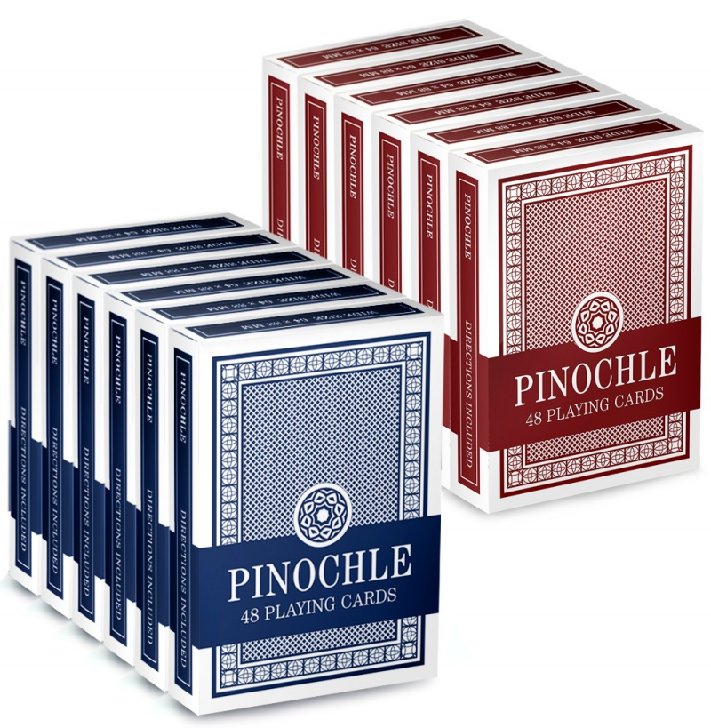 12 Pack Of Pinochle Playing Cards (6 Red/6 Blue) By Brybelly