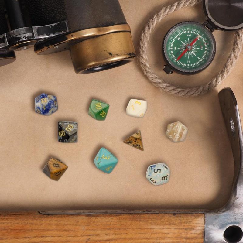 Set Of 7 Handmade Stone Polyhedral Dice, Snowflake Obsidian