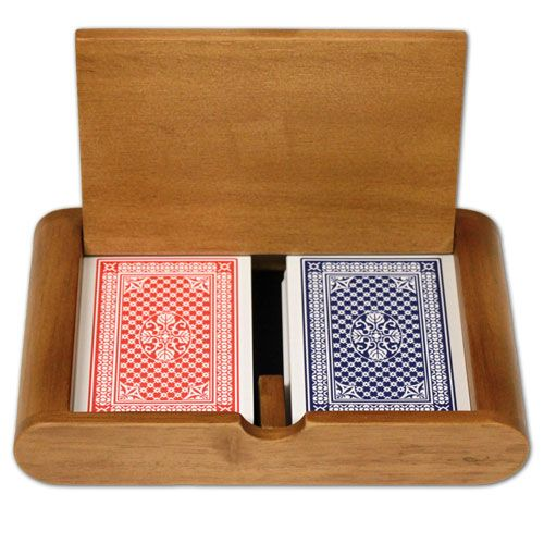 Copag 100% Plastic Playing Cards Pinochle Set In Wooden Case