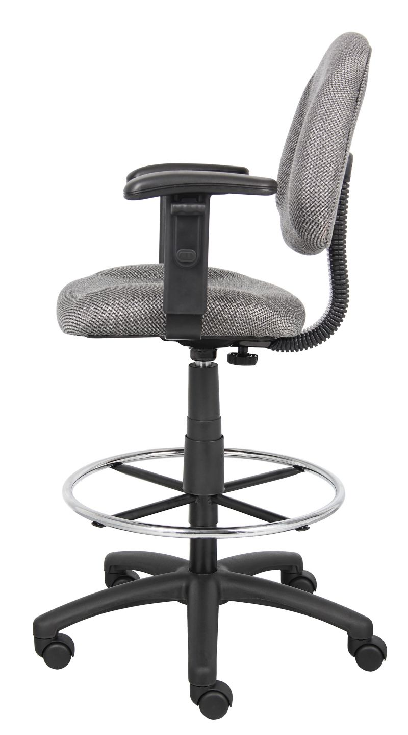 Boss Ergonomic Works Adjustable Drafting Chair With Adjustable Arms And Removable Foot Rest, Grey