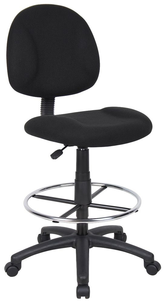 Boss Ergonomic Works Adjustable Drafting Chair Without Arms, Black