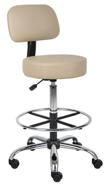 Boss Be Well Medical Spa Professional Adjustable Drafting Stool With Back And Removable Foot Rest Beige