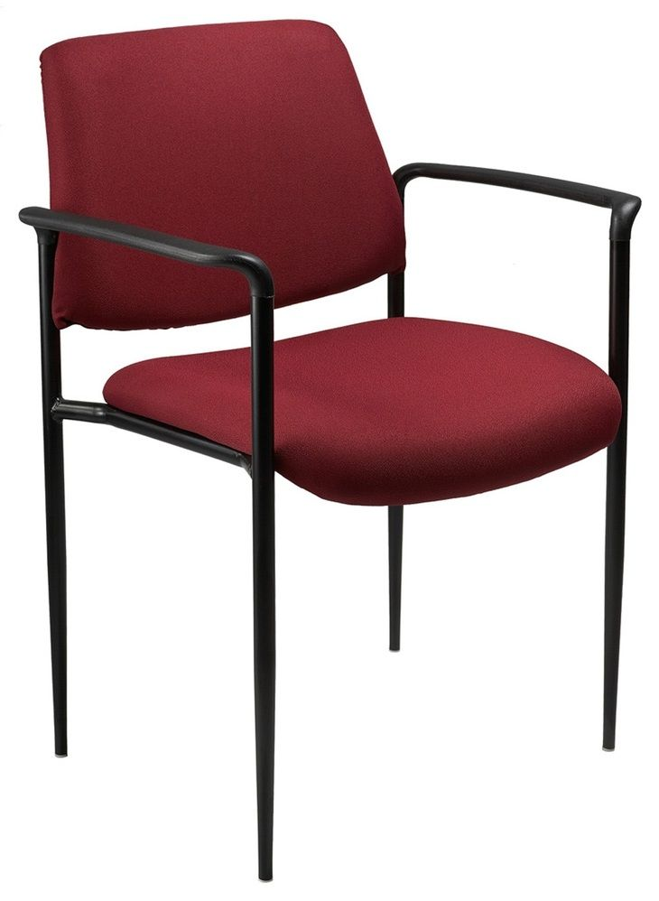 Boss Square Back Diamond Stacking Chair W/arm In Burgundy
