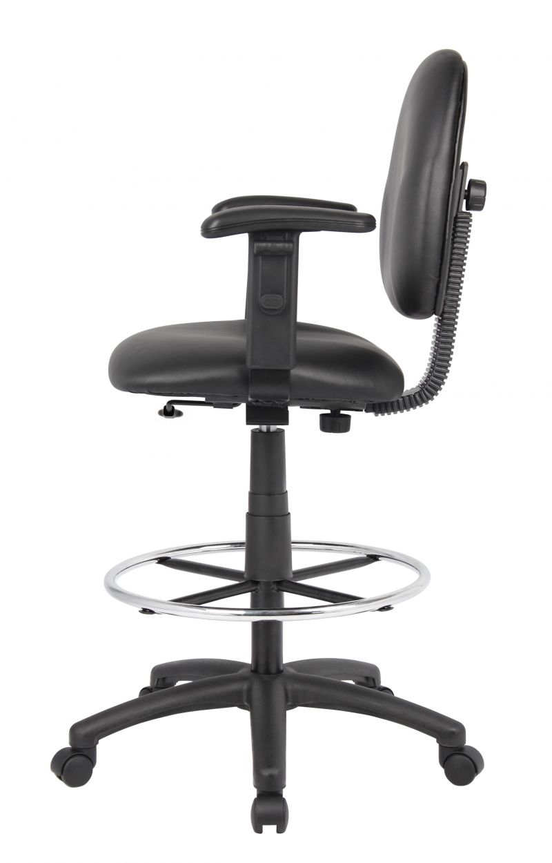 Boss Stand Up Drafting Stool With Foot Rest Black Antimicrobial Vinyl