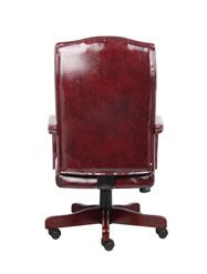Boss Classic Oxblood Caressoft™ Chair With Mahogany Finish