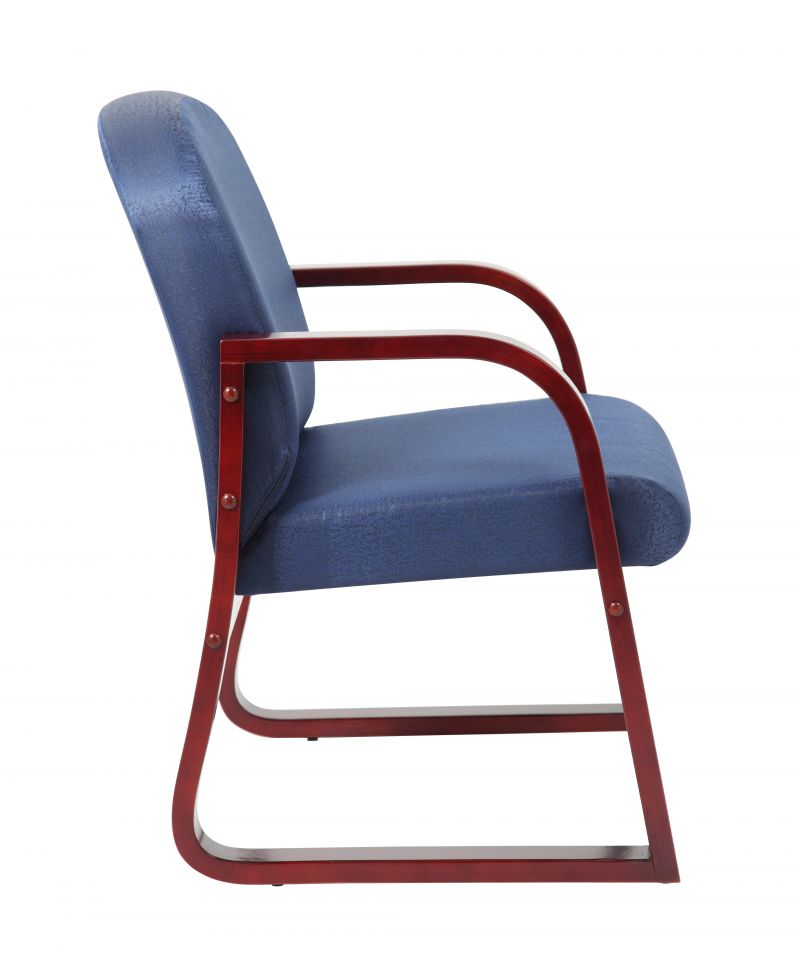 Boss Mahogany Frame Guest, Accent Or Dining Chair In Blue Fabric