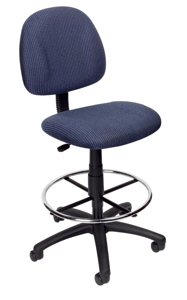 Boss Ergonomic Works Adjustable Drafting Chair Without Arms, Blue