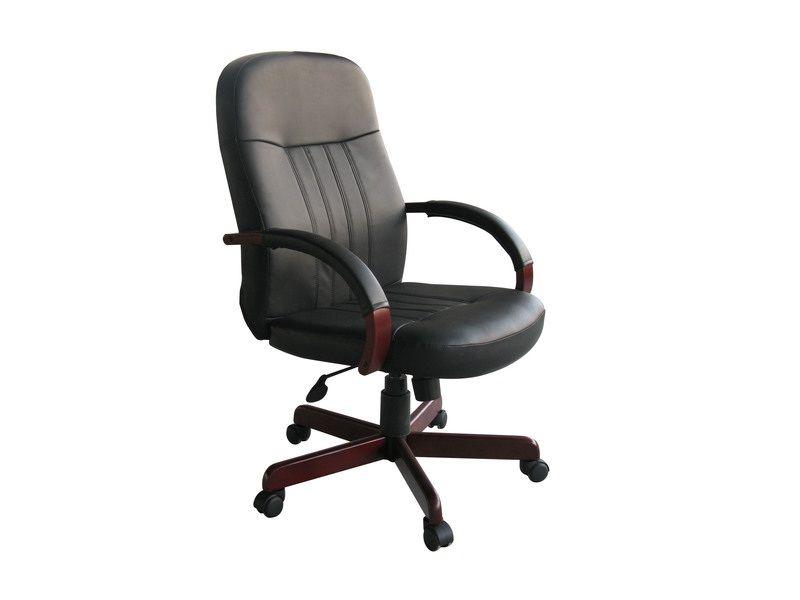 Boss Leatherplus Exec. Chair W/ Mahogany Finish