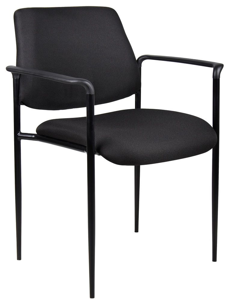 Boss Square Back Diamond Stacking Chair W/arm In Black