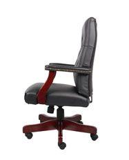 Boss Classic Black Caressoft™ Chair With Mahogany Finish