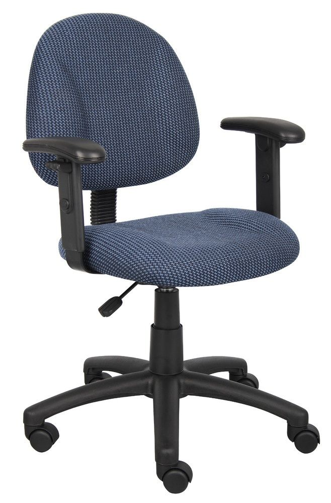 Boss Perfect Posture Deluxe Office Task Chair With Adjustable Arms, Blue