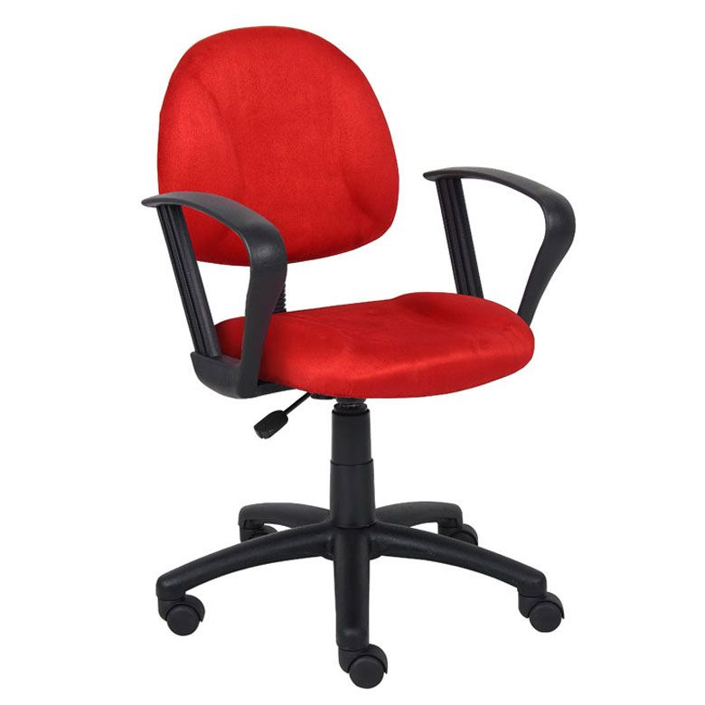Boss Red Microfiber Deluxe Posture Chair W/ Loop Arms.