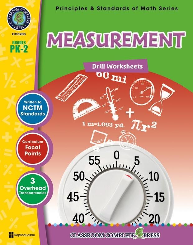 Classroom Complete Regular Edition Book: Measurement - Drill Sheets, Grades PK, K, 1, 2