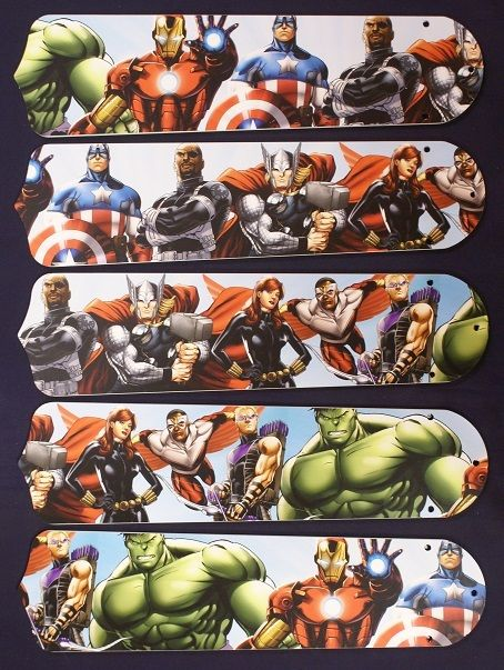 """New Kids Avengers Marvel Captain America 52"""" Ceiling Fan Blades Only"""