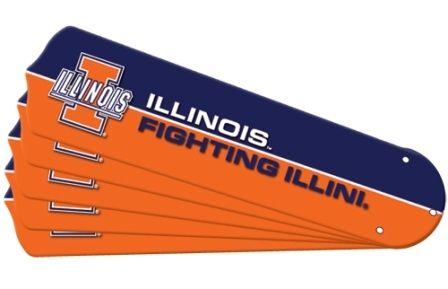 "New Ncaa Illinois Fighting Illini 52"" Ceiling Fan Blade Set"