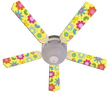 """New Flower Power Butterflies Yellow Ceiling Fan 52"""""""