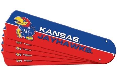 """New Ncaa Kansas Jayhawks 52"""" Ceiling Fan Blade Set"""