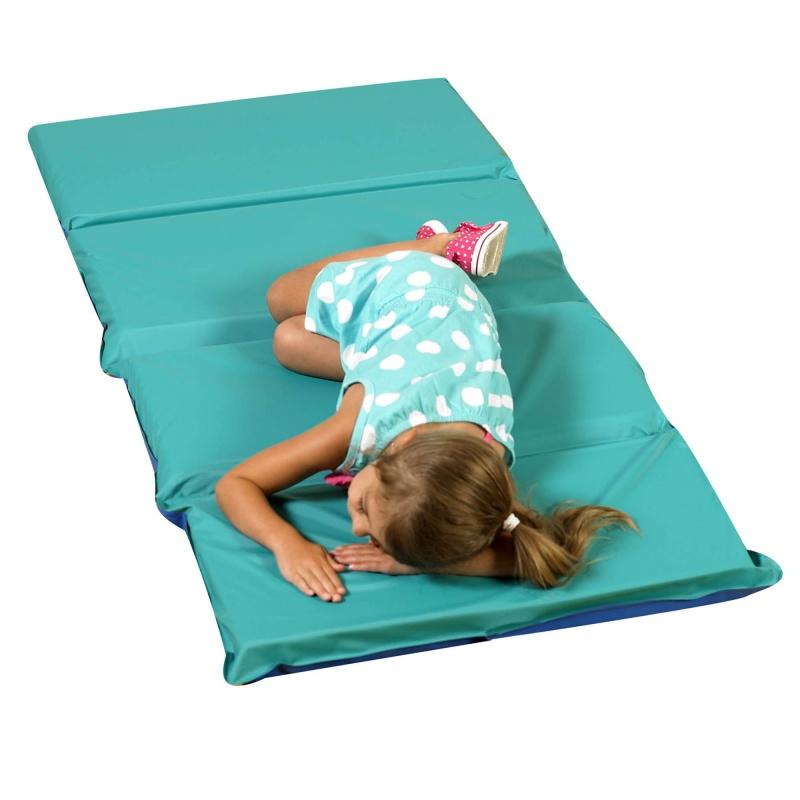 Angels Rest™ Nap Mat 2″ – Teal/blue 4-section Folding Mat – 5 Pack