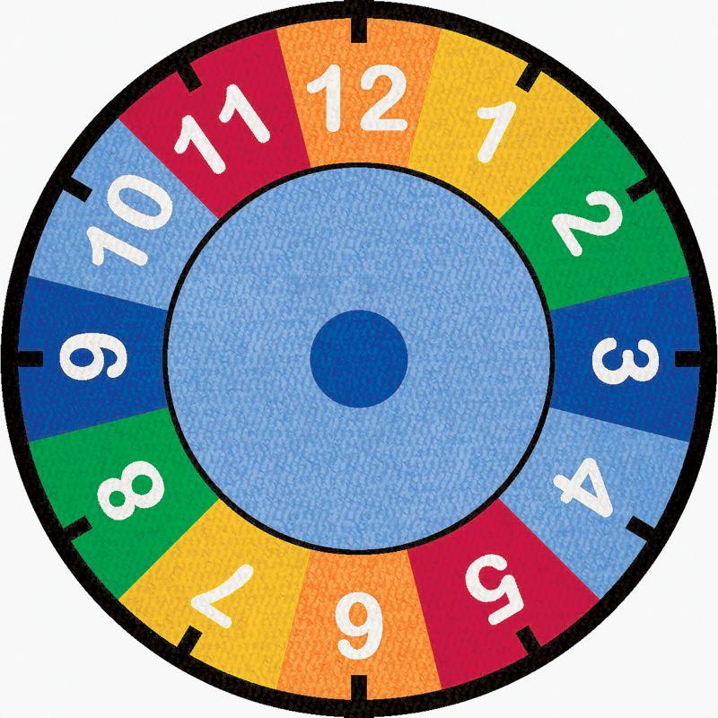 Clock Educational Rug – Round Large