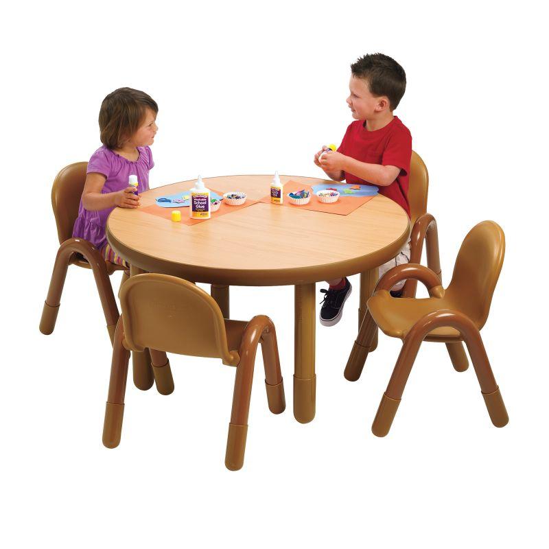 Baseline® Preschool 36″ Diameter Round Table & Chair Set – Natural Wood