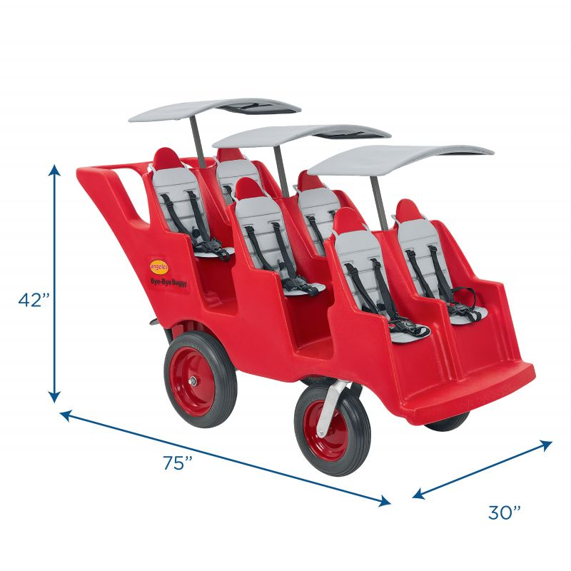 """6 Passenger Never Flat """"fat Tire"""" Red/grey Bye Bye Buggy®"""