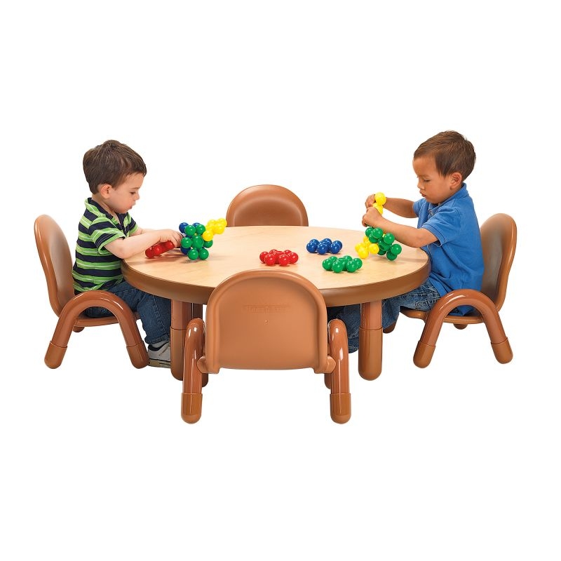 Baseline® Toddler 36″ Diameter Round Table & Chair Set – Natural Wood