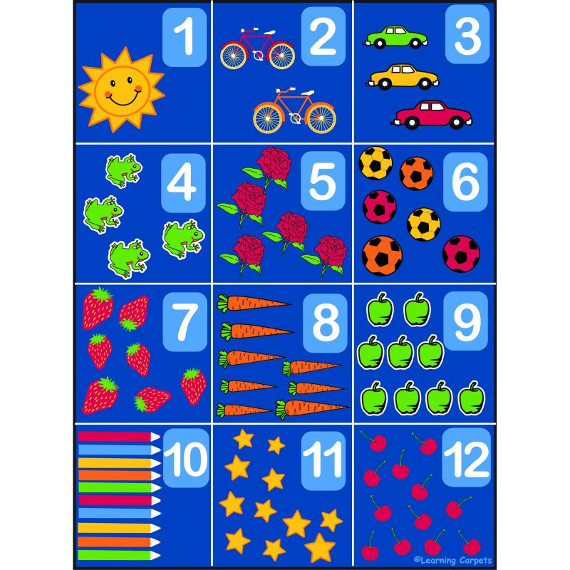 Counting Educational Rug 1-12 – Rectangle Large