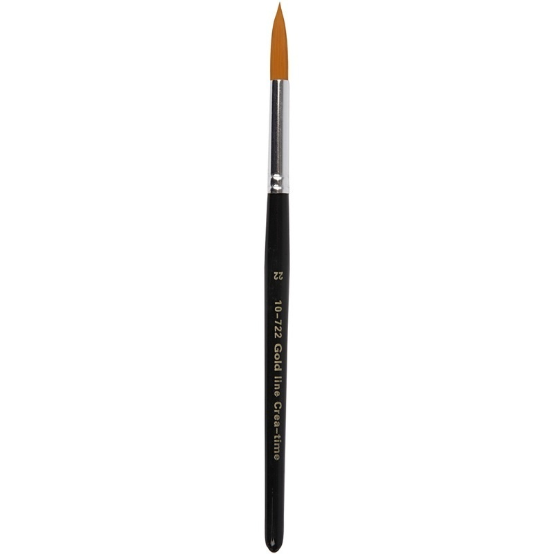 Creativ Company Gold Line Brushes, Round, 22, W: 8 Mm, 6 Pc