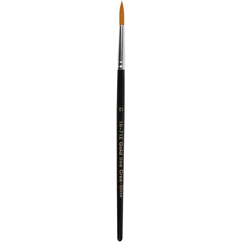 Creativ Company Gold Line Brushes, Round, 12, W: 5 Mm, 6 Pc