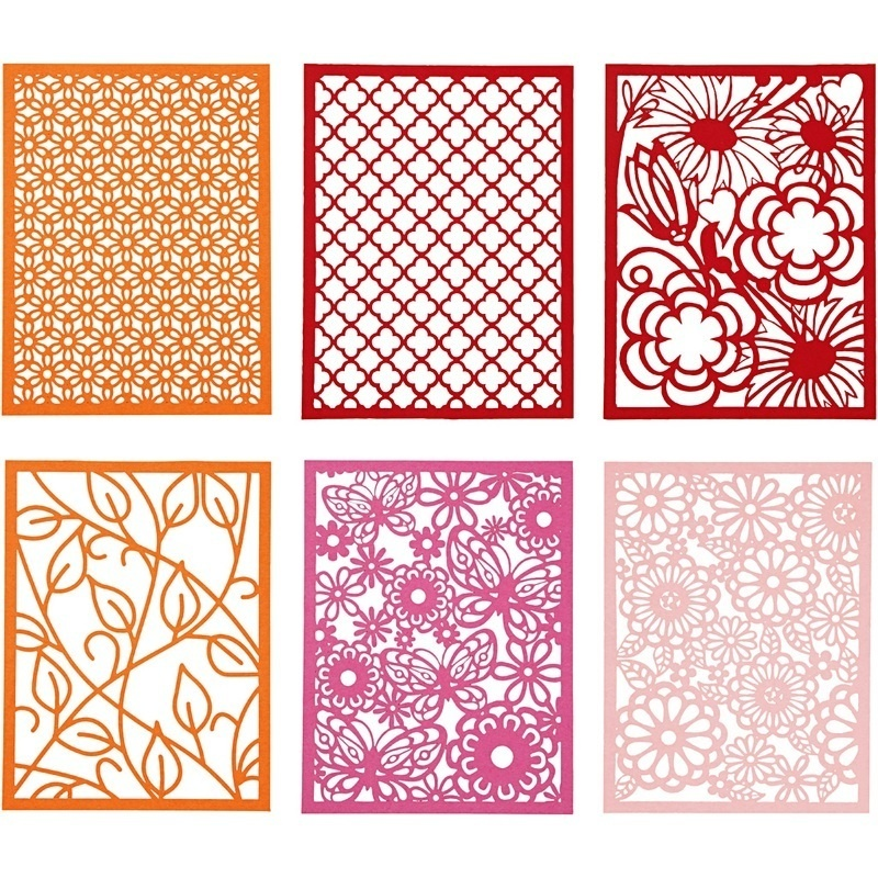 Creativ Company Pad With Cardboard Lace Patterns, Orange, Pink, Rose, Red, A6, 104x146 Mm, 200 G, 24 Pc, 1 Pack