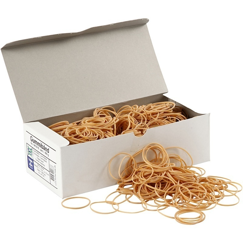 Creativ Company Rubber Bands, 5-8 Cm, 1 Mm, 500 G, 1 Pack