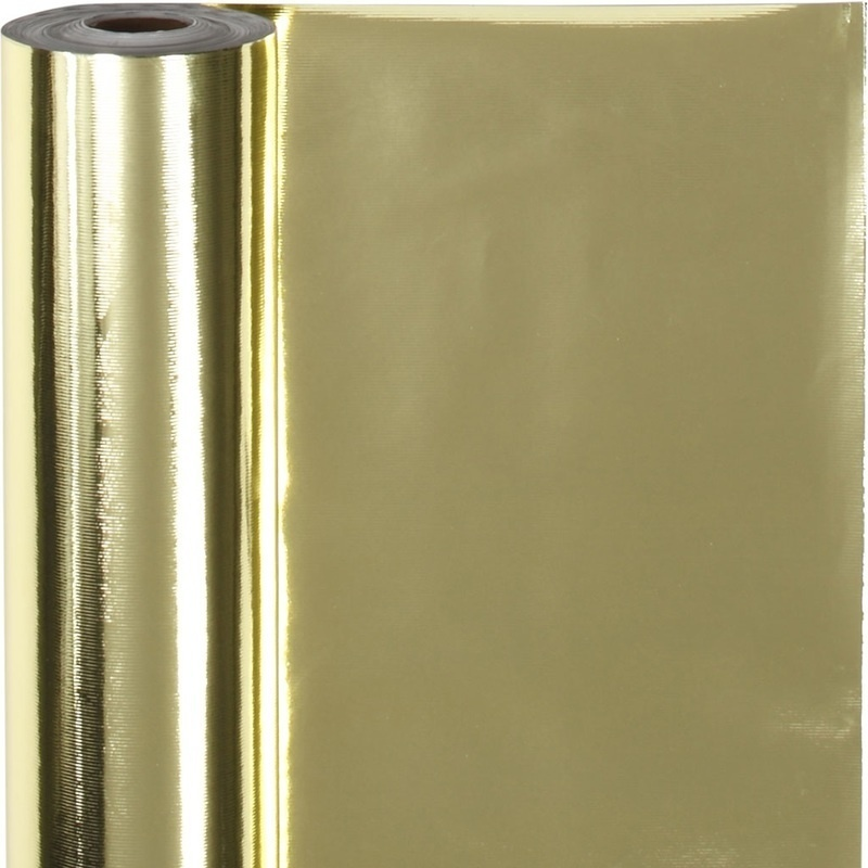 Creativ Company Wrapping Paper, Gold, W: 50 Cm, 65 G, 100 M, 1 Roll