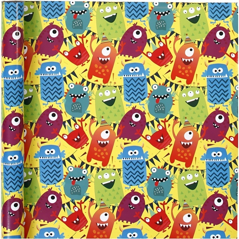 Creativ Company Gift Wrap, Monster Mix, W: 70 Cm, 80 G, 4 M, 1 Roll