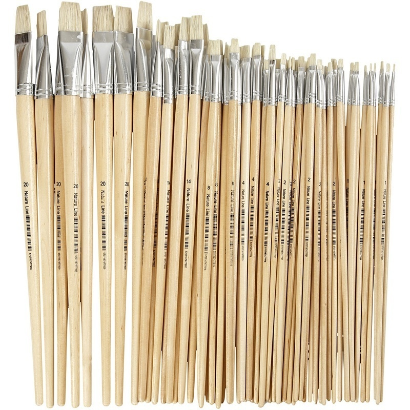 Creativ Company Nature Line Brushes, 1-20, W: 5-19 Mm, Long Handles, 64 Pc