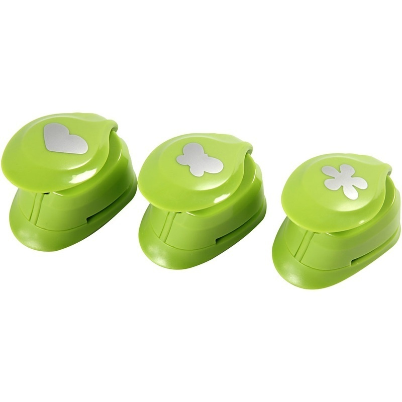 Creativ Company Paper Punches, Flower, Butterfly, Heart, 25 Mm, 3 Pc