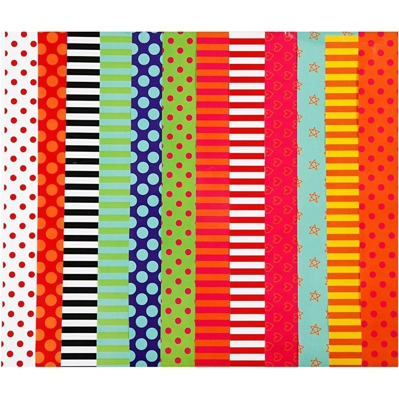 Creativ Company Glazed Paper, Assorted Colours, Pattern, 24x32 Cm, 80 G, 50 Ass Sheets
